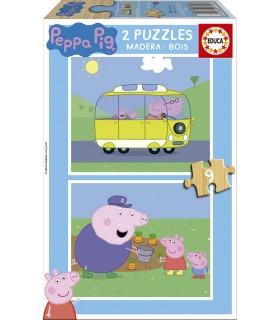 Puzzle de Madera, 2 x 9 Piezas 17156 PEPPA PIG
