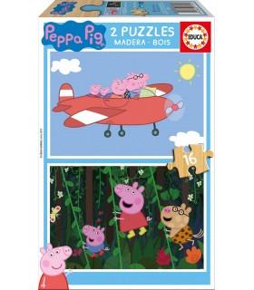 Puzzle de Madera, 2 x 16 Piezas 17157 PEPPA PIG