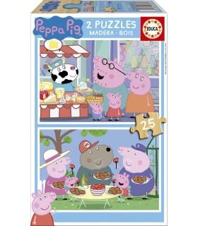 Puzzle de Madera, 2 x 25 Piezas 18078 PEPPA PIG