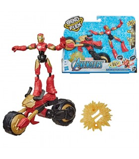 Figura con Vehículo Bend and Flex Iron Man F0244 AVENGERS HASBRO