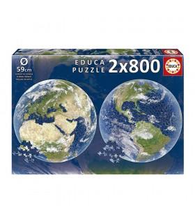 Puzzle 2x800 Round Planeta Tierra 19039 EDUCA